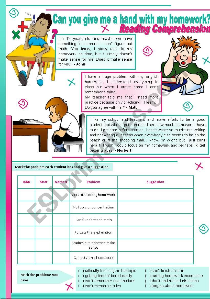 Can you give me a hand with my homework? – reading comprehension + grammar (should) [4 tasks] ((2 pages)) ***editable